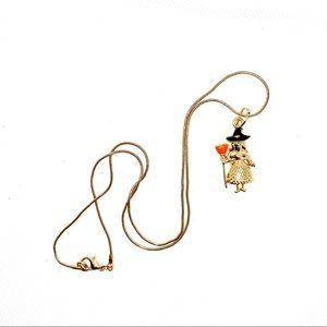 Gold Plated, Witch, Halloween necklace! NIP!